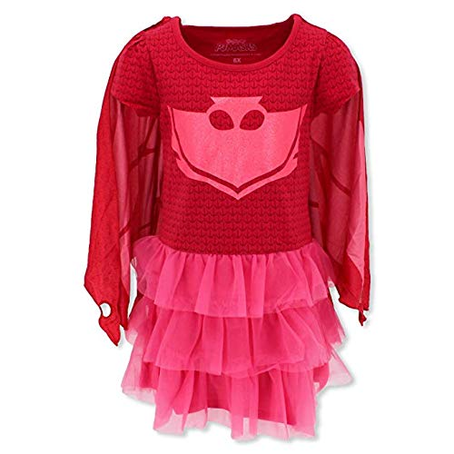 Girls' PJ Masks Owlette T-Shirt Dress With Wing Cape (6) -