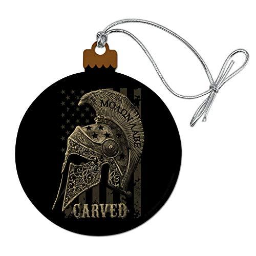 GRAPHICS & MORE Carved Molon Labe USA American Flag Spartan Helmet 2nd Amendment Wood Christmas Tree Holiday Ornament ()