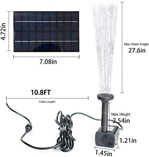 Gocheer 1.8W Solar Fountain Water Pump for Bird Bath Solar Panel Kit Outdoor Fountain for Small Pond, Pool,Patio Garden (Square)