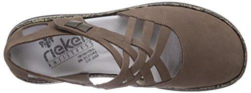 Rieker 46309 - Bailarinas de cuero para mujer gris - Grau (mineral / 42)