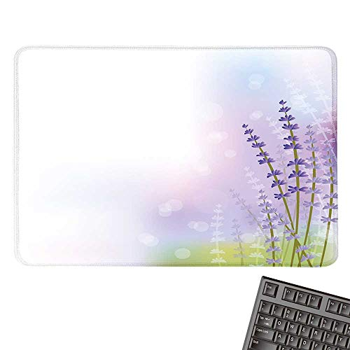 Lavendercomputer Mouse padNature Inspired Abstract Backdrop with Gentle Pastel Lavender StemsBlack Cloth Mousepad 15.7