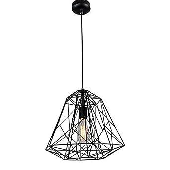 Glighone Lámpara de Techo Lámpara Industrial Luz Vintage Lámpara Colgante Luz de Pantalla Jaula de Hierro Estilo Rústico Casquillo E27 No Incluye ...