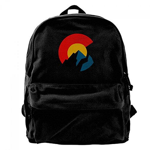 Colorado Flag Logo Red Gold Blue Three Colour Stripes Simple Durable Unisex Canvas Backpack 11.8x15.74x5.5 Inch For Travel School Bag Fits 14 Inch Laptop ()