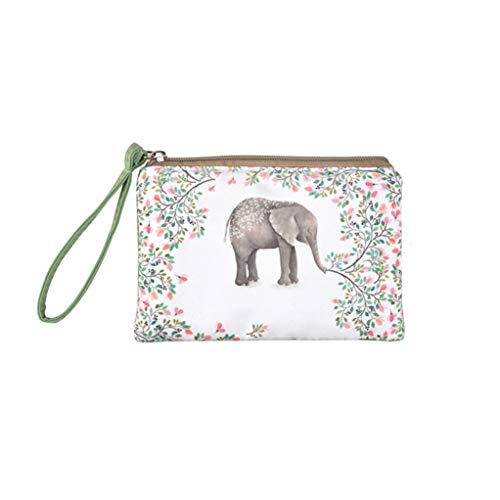 Rantanto Cute Classic Exquisite Canvas Cash Coin Purse, Make Up Bag, Cellphone bag With Handle (BG0001 Flower Elephant)