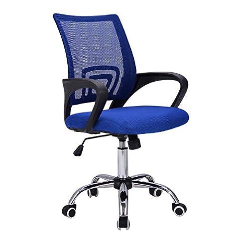 Giantex Modern Mesh Mid-Back Office Chair Computer Desk Task Ergonomic Swivel (Blue) (Cello Kitchen Sponges)