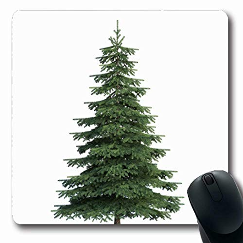Ahawoso Mousepads for Computers Green Pine Fir Tree Nature Realistic Conifer Branch Celebration Christmas Design Oblong Shape 7.9 x 9.5 Inches Non-Slip Oblong Gaming Mouse Pad