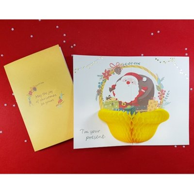 Handmade Honeycomb Pop Up Christmas Greeting Card (Pack of 1, SANTA BASKET)