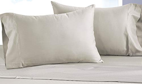 CHATEAU HOME COLLECTION Luxury Combed Cotton 500 Thread Count Executive Stripe, Set of 2 Standard Pillowcases - ()