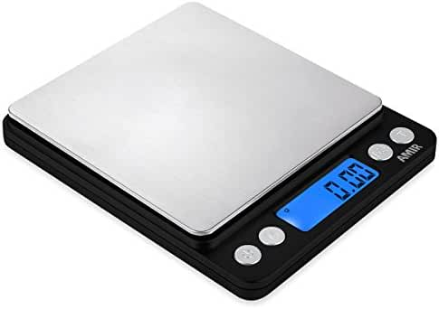 AMIR 500g/ 0.01g Digital Kitchen Scales, High-precision Pocket Food Scales, Stainless Steel Jewelry Scales, Multifunctional with Back-Lit LCD Display, Tare and PCS Features, Batteries Included (Black)