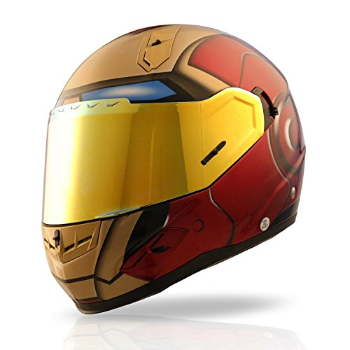 NENKI NK-856 Full Face Iron Man Motorcycle Helmet For Adult &Youth Street Bike with Iridium Red Visor and Sun Shield DOT Approved (RED GOLD, Small)