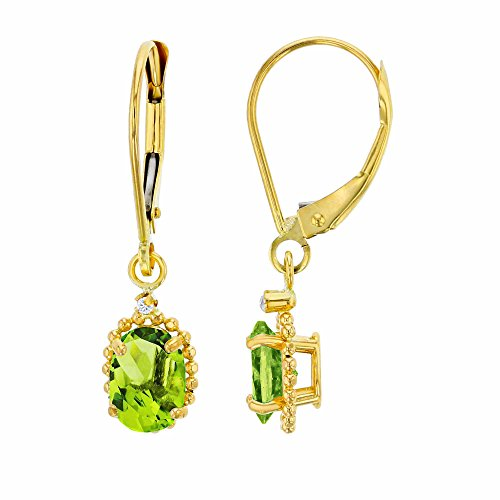 14K Yellow Gold 1.25mm Round White Topaz & 6x4mm Oval Peridot Bead Frame Drop Leverback Earring