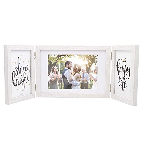(Afuly White Picture Frame 5x7 4x6 Hinged Folding Triple Photo Frames Desk Collage Three Opening for)