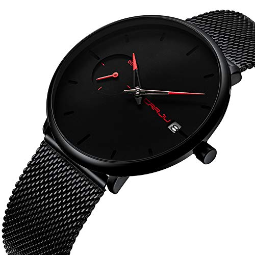 Men's Watches Casual Simple Analog Quartz Wrist Watch Black Milanese Mesh Band with Red Pointer Date Minimalist Watches