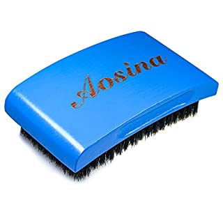 Hair Brush for Men,Medium Curved Palm Wave Brush 360 Waves Brush Made With Pure Black Boar Bristle(Blue)
