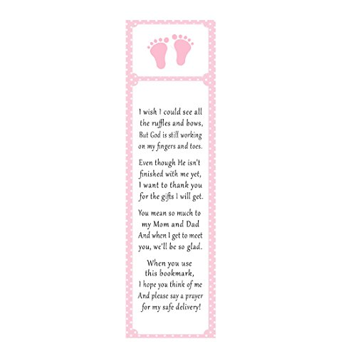 50 Footprints Bookmarks Girl Baby Shower Party Favor