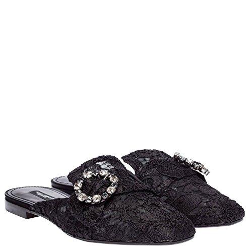 Dolce E Gabbana Sandales Pour Femme Ci0004al19880999 Cuir Noir