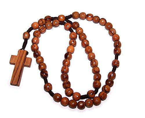 Olive Wood Beads Rosary Christian Holy Land Bracelet by Bethlehem Gifts TM (Simple Rosary) (Wood Cross Bracelet)