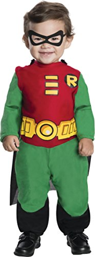 [Rubie's Costume Co Teen Titans Robin Jumpsuit, Green/Red/Black, Infant 6 - 12 Months] (Red Jumpsuit Costume)