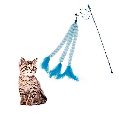 Broadroot Juguete para gato con varilla de caña de pescar de plumas artificiales, de plástico, diseño bonito: Amazon.es: Productos para mascotas