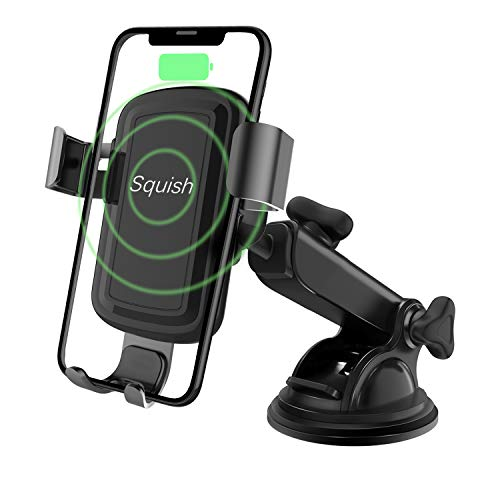 (Wireless Charger Car Phone Mount, Squish Qi Fast Charging Wireless Car Charger Mount 10W 7.5W, Cell Phone Holder for iPhone Xs Max/XS/XR/X/8Plus/8 and for Samsung S10/S9/S9+/S8/S8+/Note9/Note8 etc)