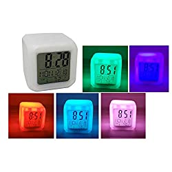 LED Color Changing Digital Alarm Clock, Thermometer & Date Cube Shaped 3