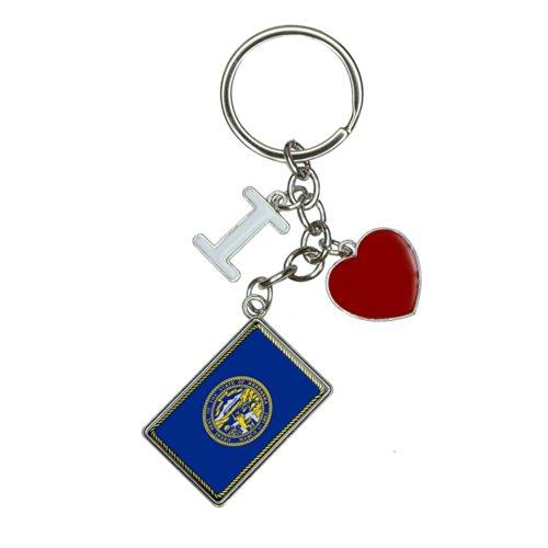 Nebraska State Flag I Heart Love Keychain Key Ring