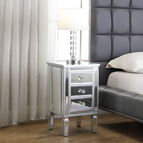 - 3-Drawer Mirrored End Table - GA Home Mirrored Furniture Nightstand Glass Bedside Table, Silver