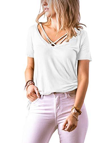 Uincloset Women's V Neck Criss Cross Tops Summer Casual Short Sleeve Tees T Shirt