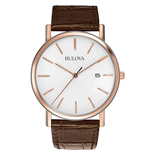 Brown Bulova Strap - Bulova Men's 98H51 Stainless Steel Dress Watch With Croco Leather Band