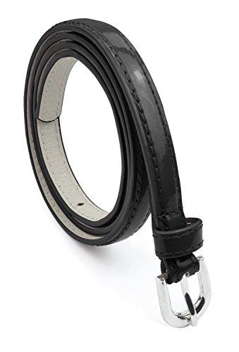Skinny Black Belt (Belle Donne Women's Adjustable Leather Skinny Narrow Waist Belts - Black -)
