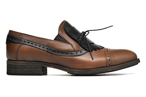 mujer de Piel para de 35 Black Cognac Zapatos dkode cordones f7Fq4Yx