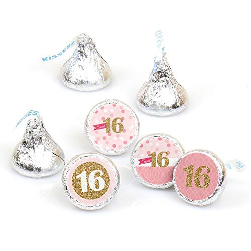 Sweet 16-16th Birthday Party Round Candy Sticker Favors - Labels Fit Hershey's Kisses (1 sheet of 108)]()