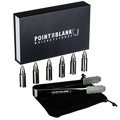 Pointblank Stainless Steel Bullet Shaped Whiskey Stones, Reusable, Stainless Steel Drink Chillers with Tongs and Storage Bag (Set of 6) by Pointblank