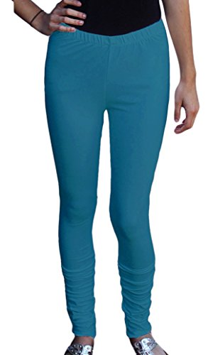 Ayurvastram Cotton Spandex Jersey Extra Long Leggings; Fresh Teal; Extra Extra Large