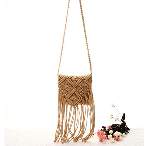 Bohemian Bag Girls Bag Brown Fringed Beach Crochet Woven Tassel Cross Fashion Hollow Bag Shoulder Body Out Women Mily qnF7fW