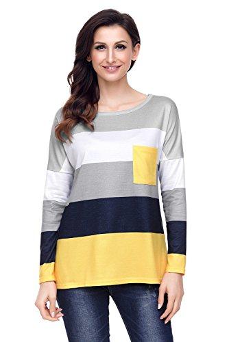 Womens Casual Long Sleeve Crewneck T shirt Pocket Sweatshirt Blouse Tops ()