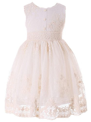 Bow Dream Flower Girl Dress Vintage Lace Cream Ivory Without Sleeves 5 -