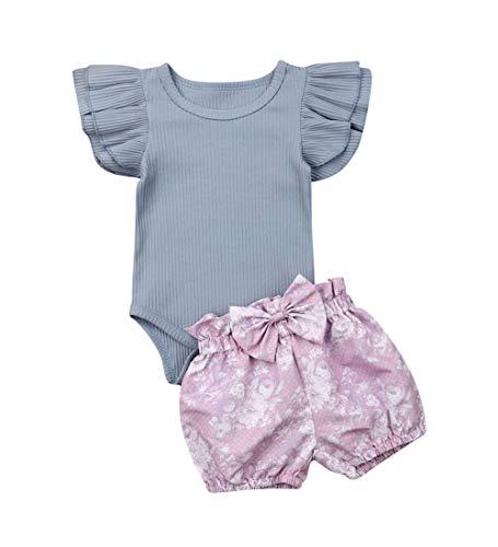 3PCS Clothes Set Newborn Toddler Baby Girl Romper Bodysuit Jumpsuit Floral Halen Pants Outfit Clothes (12-18 Months, Blue)