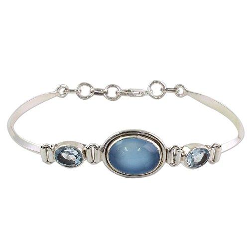 NOVICA Multi-Gem Chalcedony .925 Sterling Silver Pendant Bracelet, 7.5