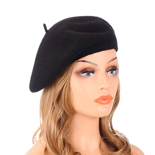 (Wheebo Wool Beret Hat,Solid Color French Style Winter Warm Cap for Women)