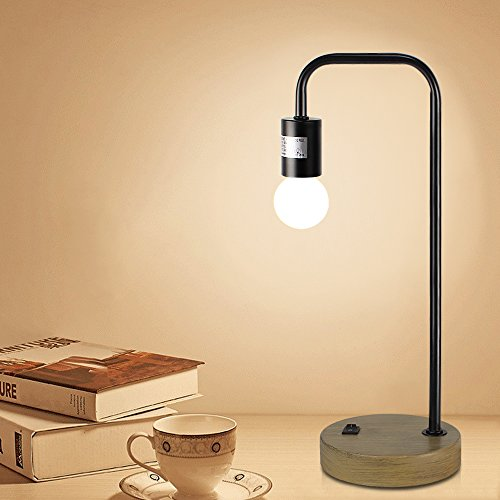 Kinder Metal Table Lamp - HAITRAL Desk Lamps Imitation Wood Metal Accent Lamp for Office Home Lighting Black