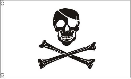 ALBATROS 3 ft x 5 ft Pirate Black and White Patch Flag 5in x 3in Skull Skeleton Bones Halloween for Home and Parades, Official Party, All Weather Indoors Outdoors