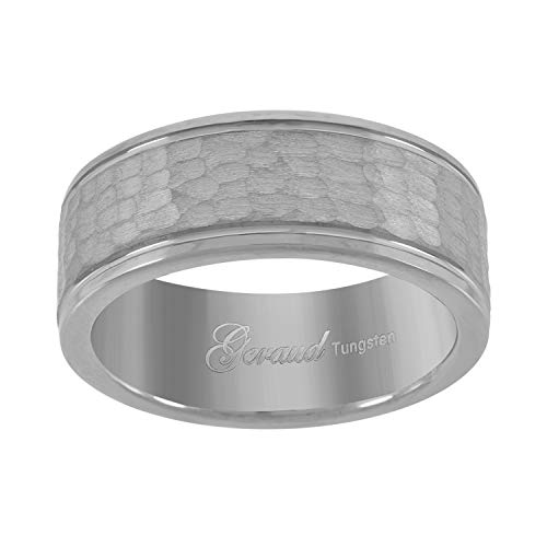 Sonia Jewels Tungsten Hammered Finish Center Dual Offset Grooves Mens Comfort-fit 8mm Wedding Anniversary Band Ring - Size 9 ()