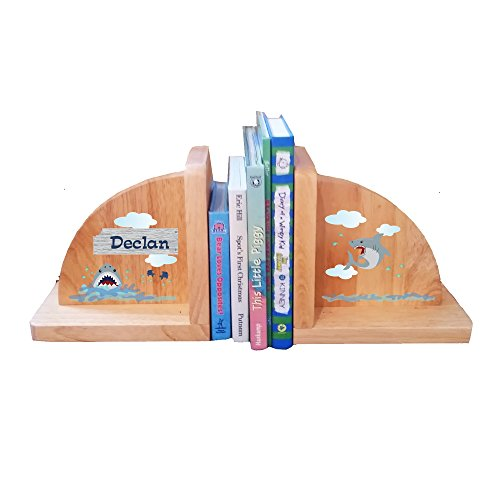Personalized Shark Tank Natural Wooden Bookends by MyBambino