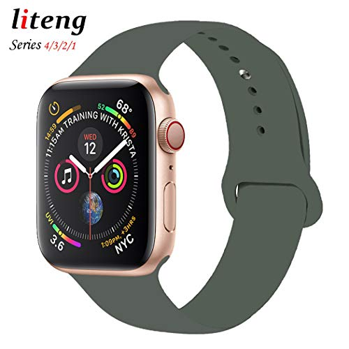 LITENG Sport Band for Apple Watch 38mm 40mm 42mm 44mm, Soft Silicone Sport Strap Replacement Bands for iWatch Apple Watch Band Series 4, Series 3, Series 2/1 Sport & Edition (Olive Green, 40mm/38mm)