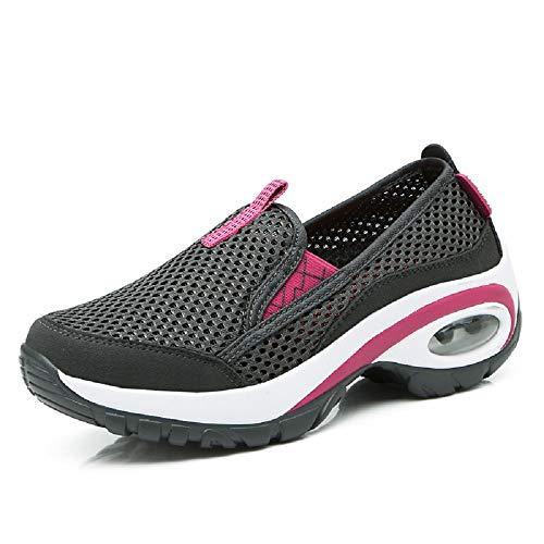 Qiusa Zapatos de Las Mujeres Que Caminan a los Instructores del suavizador de Malla Transpirable Suave de la Suela (Color : Púrpura, tamaño : EU 38) Negro