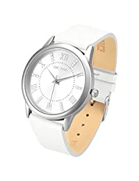 Dictac Wristwatch Lady Analg Quartz Blue Leather Strap 98ft Waterproof Classic Round Watch (white)