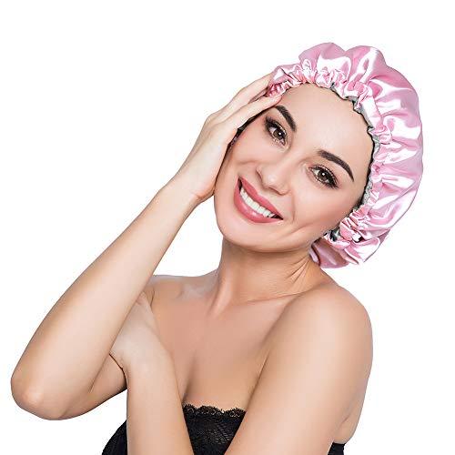 ELIHAIR Silk Night Sleep Cap for Women Girls Extra Large Satin Bonnet Cover Double Side Satin Cap Pink/Grey