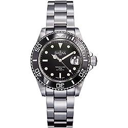 Davosa Swiss Ternos 16155550 Diver Analog Men Wrist Watch Steel Band Black Face