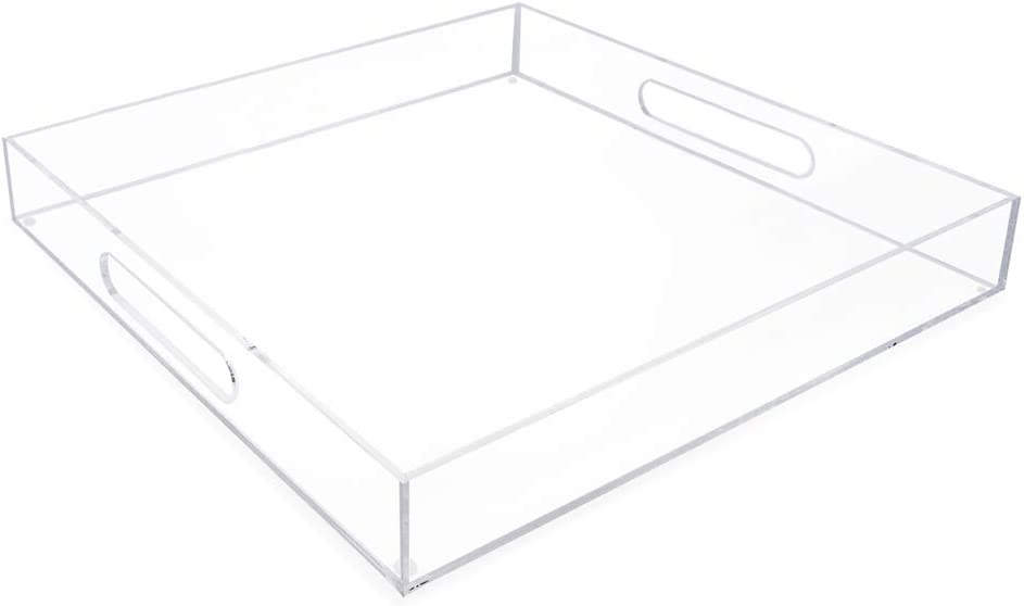 Isaac Jacobs Clear Acrylic Serving Tray (15x15) withCutoutHandles, Spill-Proof, Stackable Organizer, Space-Saver, Food & Drinks Server, Indoors/Outdoors, Lucite Storage Décor & More